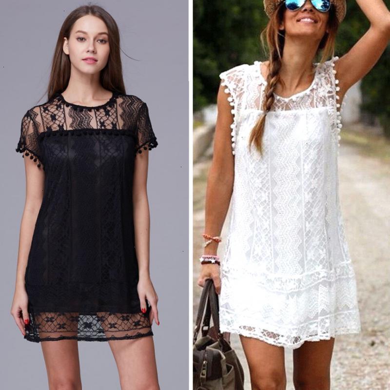 Sexy Frauen-Sommer-Kleid-beiläufige Sleeveless Strand-Kurzschluss-Dame-Mädchen Quaste festen weiße Mini-Spitze-Kleid Plus Size Designer-Kleidung