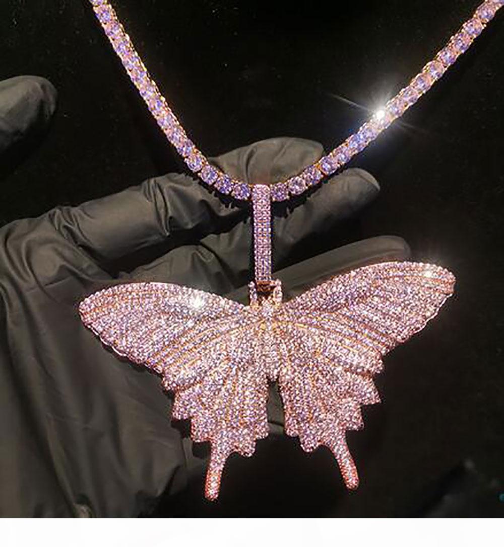 14K Iced Out Розовая бабочка ожерелье Bling Bling Micro Pave Кубический циркон кулон Рождество партии ювелирных изделий