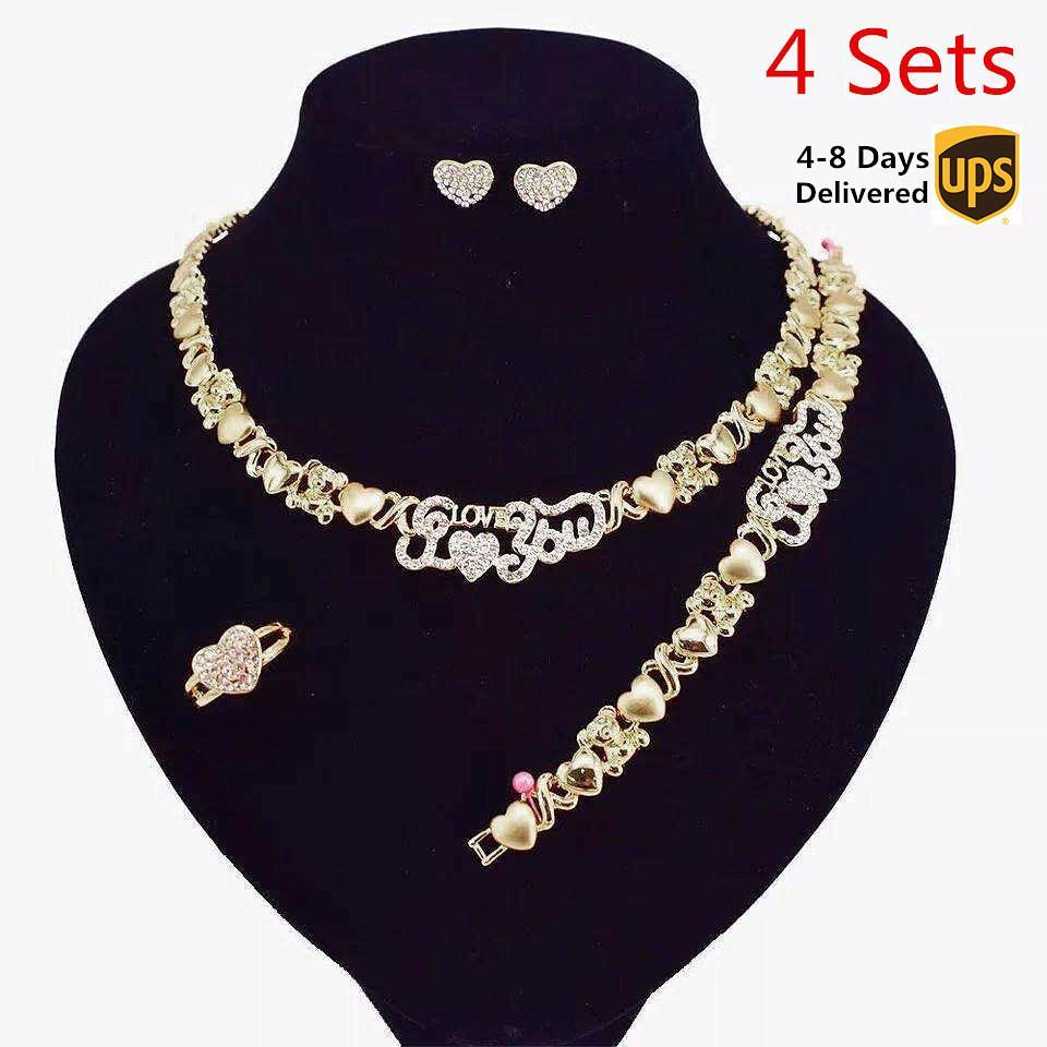 4 sistemas / Caja de joyería africana fija para las mujeres pendientes del collar del oro de 14K joyería fija para las mujeres al por mayor collares de la joyería jewlrey