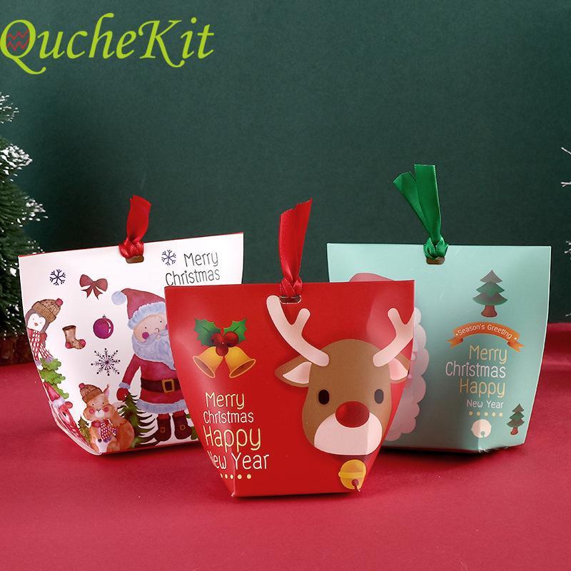 100pcs Joyeux Noël Bonbonnière Père Noël Noël cerf boîte d'emballage du Nouvel An chocolat cadeaux Boîtes d'emballage