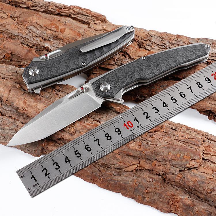 schweres Gewicht großforma Kohlefaser Titan Wellengriff 9cr18mov Klinge Kugellager Camping Jagd Messerwerkzeug