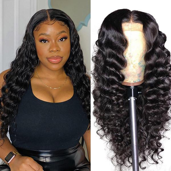 Middle Part 13*1 T Lace Wigs Loose Deep Straight Human Hair Wigs Peruvian Curly T Part Human Hair Lace Front Wig Body Water