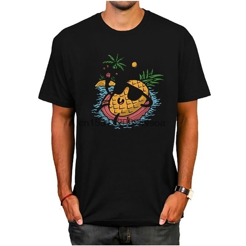 Pxsewe ananas T-shirt de détente Homme T-shirt manches courtes T-shirts en coton Mans T-shirts
