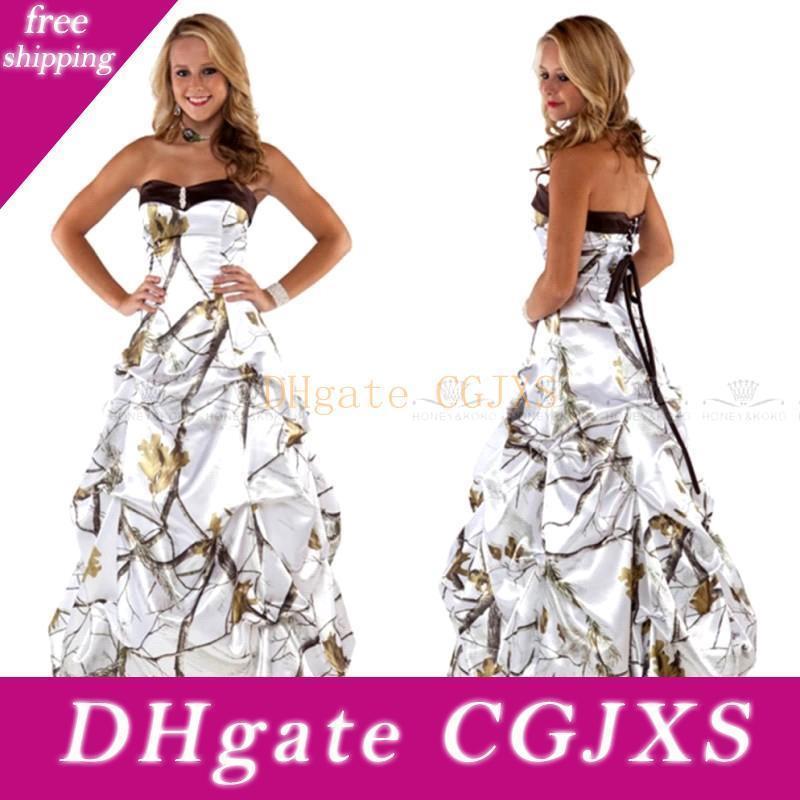 Милая White Camo Свадебные платья 2020 драпированные юбки атласная Свадебные платья Lace Up Назад на заказ Плюс Размер Камуфляж Vestidos Bc2426