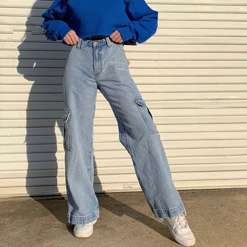 디자이너 포켓 패치 워크 높은 허리 청바지 여성 스트리트 스트레이트 진 팜므 블루 100 % 코튼 카고 바지