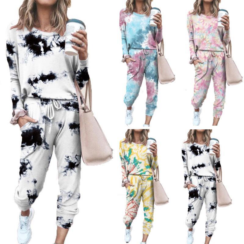 Más el tamaño de las mujeres del otoño ropa de 2 conjuntos de dos piezas establecen Moda Tie-dye largo de la manga de la camiseta ocasional