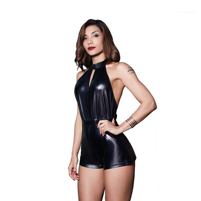 Mulheres PU Blackless Macacão Sexy Hanging Neck Slim Fit mangas Jumpsuit Famale Fashion Clothes