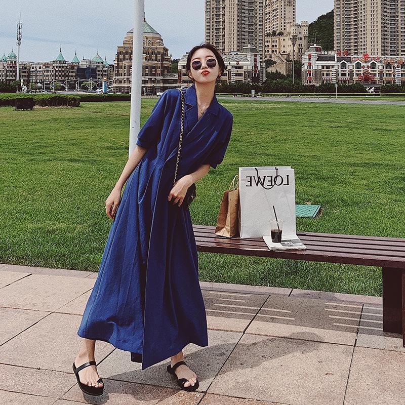 gADdv Dress 2020 new summer women's to ankle skirt long temperament mature slimming French long light waist skirt 93o0S