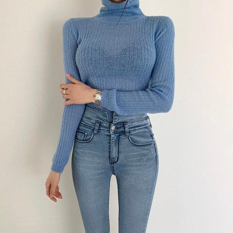 TWOTWINSTYLE Белый Корейский вязаный свитер для женщин Водолазка с длинным рукавом Осень Тонкий пуловер Женский Одежда Новая мода 2019 Y2001 pWKH #