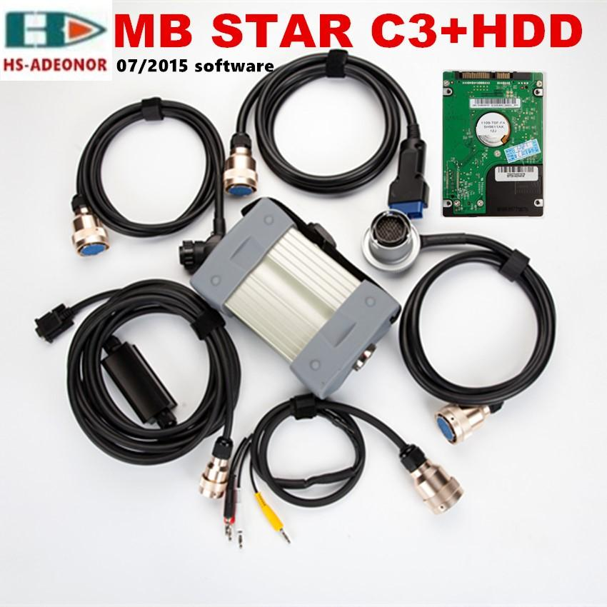 Para ferramenta de diagnóstico automóvel Mercedes Benz, 12V / 24V MB estrela C3 SD C3 multiplexador, cabos Core 5 cobre e 2015.07v software
