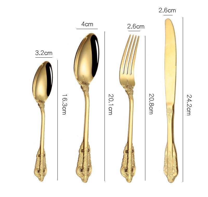 Винтажные столовые приборы из нержавеющей стали чайные ложки ножей посуды вилки ложка посуды рельефная посуда свадьба западная кухня HHA1543 KVUN