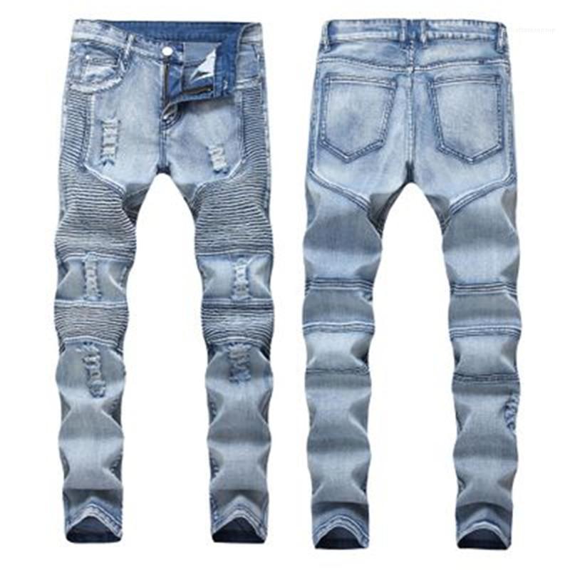 Сложите Разорванные джинсы Мода весна Новые голубые дыры Упругие Тонкий Street Denim брюки Одежда Повседневный Длинный карандаш Мужские брюки Человек
