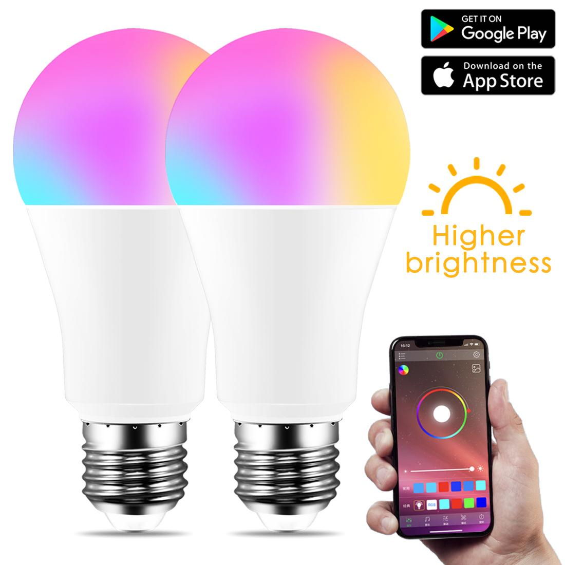 IOS / 안드로이드에 대한 무선 블루투스 4.0 스마트 전구 홈 조명 램프 10W E27 B22 매직 RGB + W LED 색 변경 전구 디 밍이
