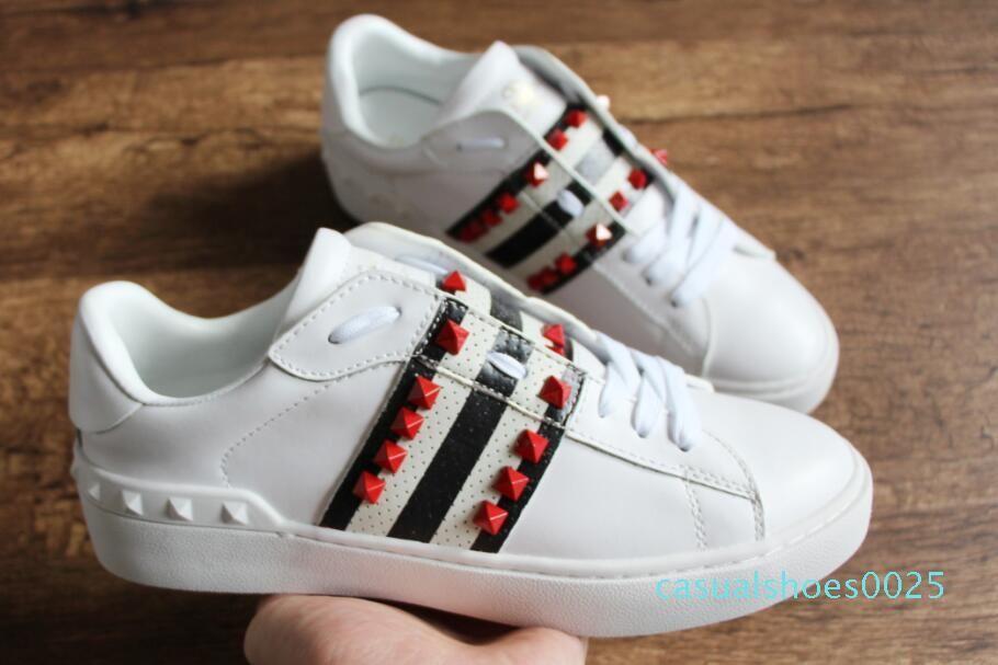 2019 tasarımcı Marka Çivili Dikenler Flats Kırmızı Bottoms ayakkabı lüks Erkekler Kadınlar Partisi Aşıklar Gerçek Deri Sneakers boyutu 35-46 C25 ayakkabı
