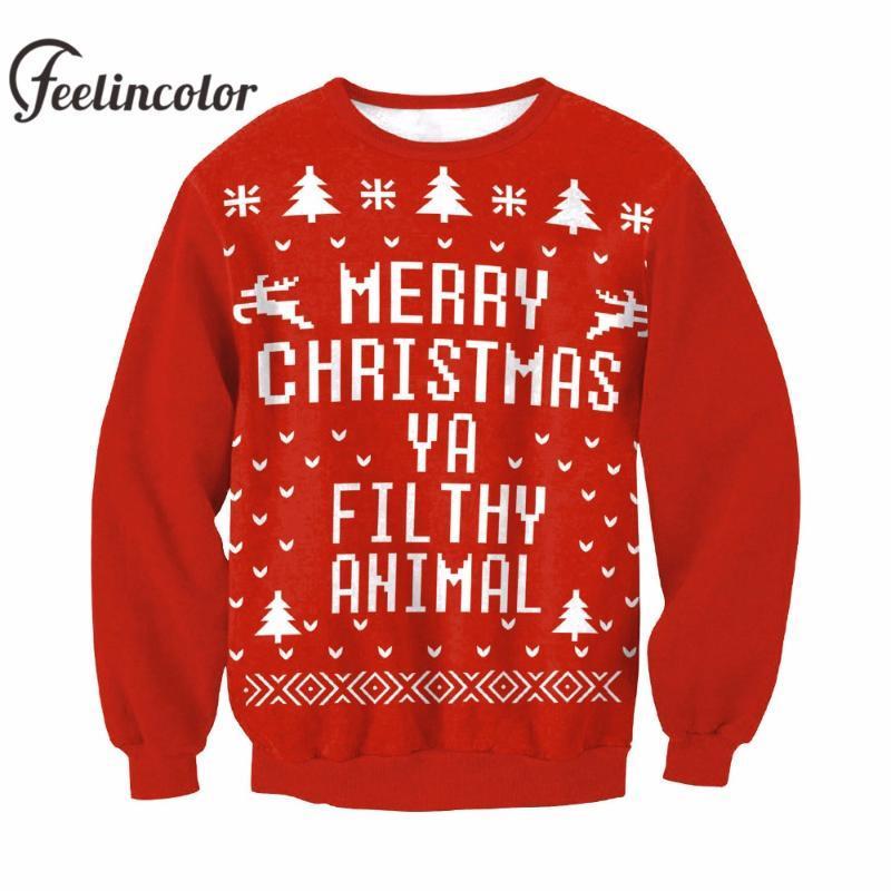 Feelincolor Nouveau Noël Pull hommes Père Noël Clus unisexe Kerst trui mode X-mas pull-over rouge pour hommes, femmes Noël overs