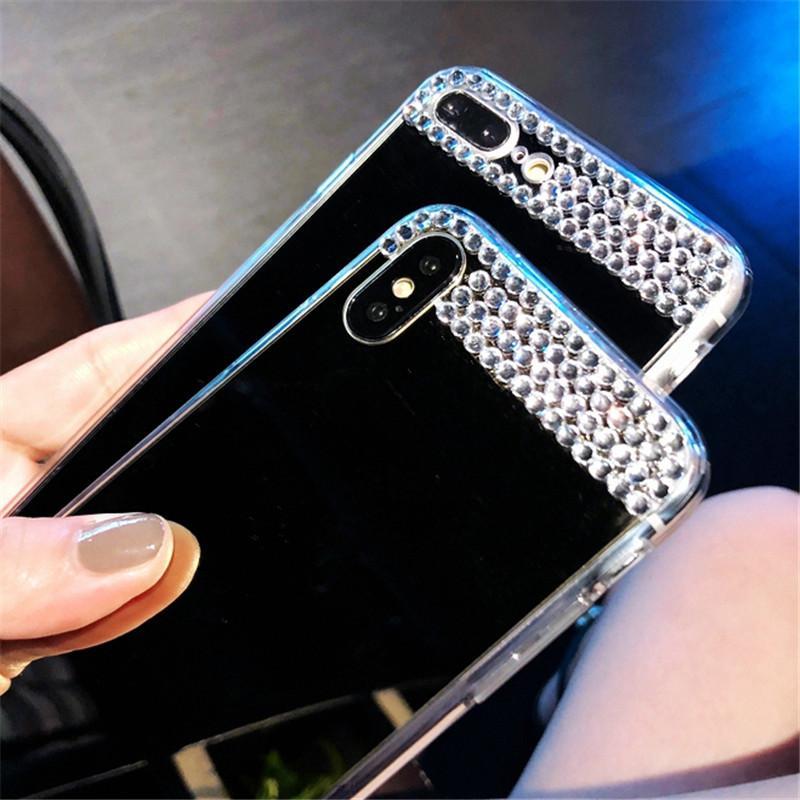 Bling Алмазная Зеркало Мягкий чехол для Huawei P8 P9 P10 P20 P30 Honor 7A 7C 8 8X 9i 10 Mate 10 20 Nova 2i Lite Plus Pro 2017 Обложка