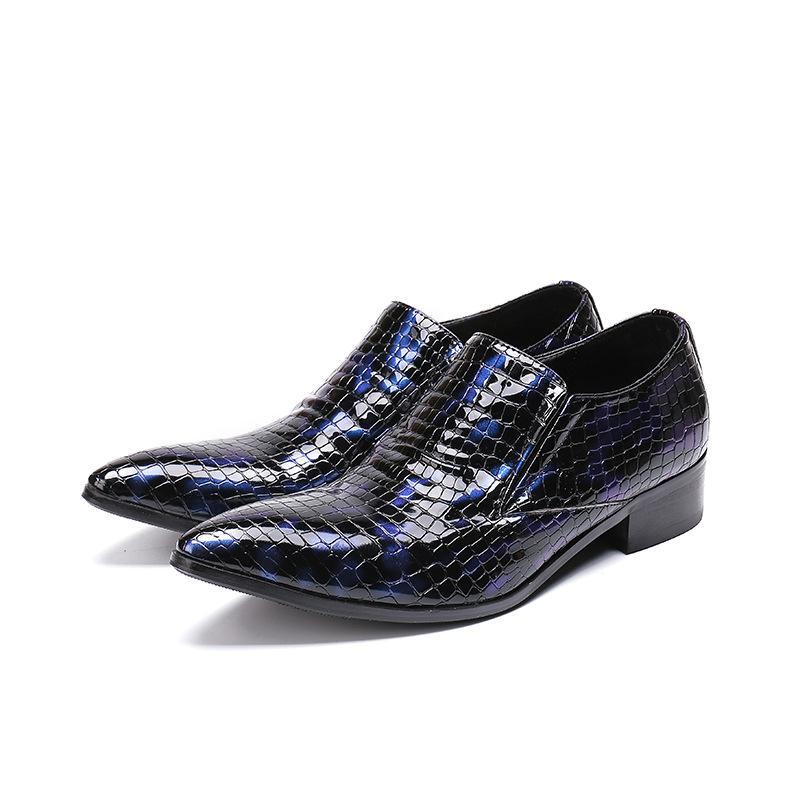 Sapatos de couro de Personalidade azuis Sets Apontado da moda homens se vestem de negócios de pés Estilo coreana de sapatos de couro
