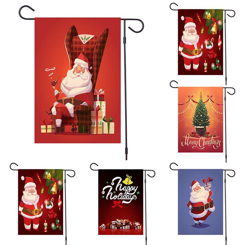 Noël Bannières bonhomme de neige Elk Père Noël en tissu suspendu Drapeau Joyeux Noël Décorations pour la maison de Noël Ornements de bannières T1I2293