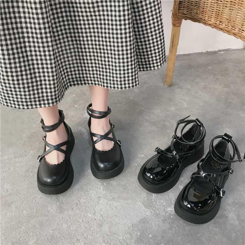 Sandali 2021 Scarpe nere per le donne All-Match Mary Jane Wedge Shallow Bocca Estate Tacchi rotondi TOE BEIGE DONNA RETRO