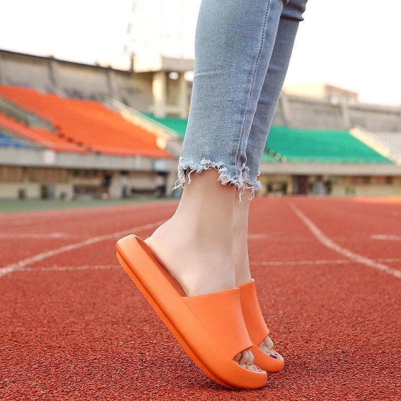 Verano zapatos de los deslizadores de las mujeres lindas suela gruesa Zapatillas Mujeres Diapositivas antideslizante Plataforma plana al aire libre de los hombres de las sandalias de playa Diapositivas