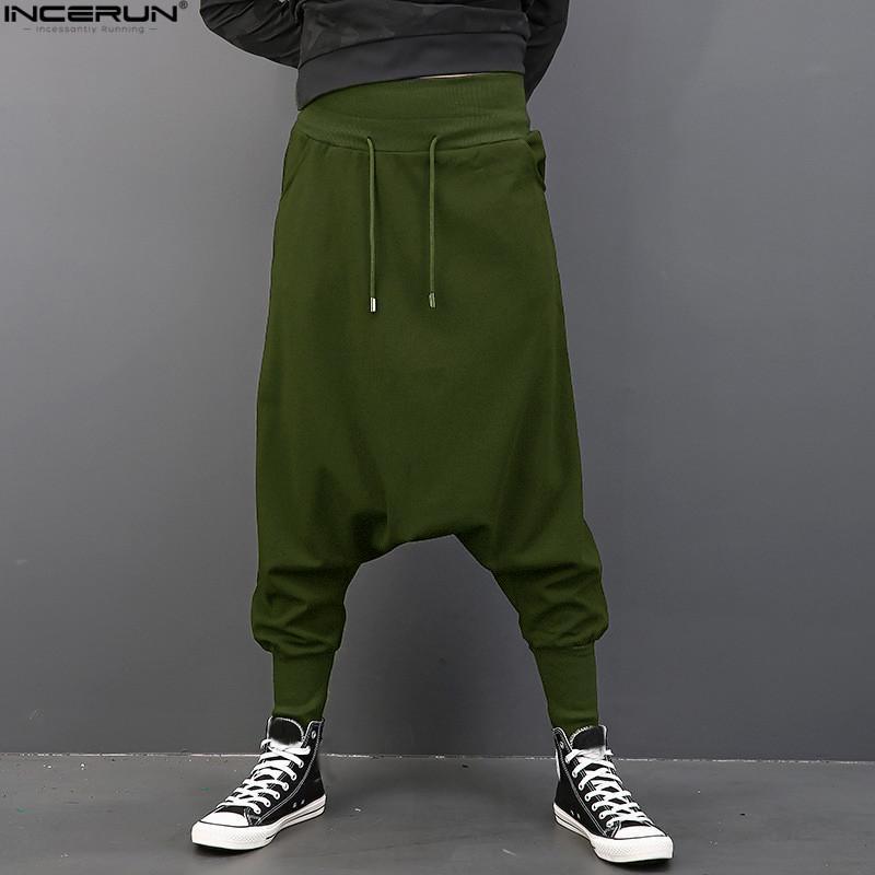 INCERUN Men Casual Solid шаровары Hip Hop Брюки бегуны Брюки Мужчины мешковатые штаны Танцы Gothic Punk Стиль Гарем Плюс Размер