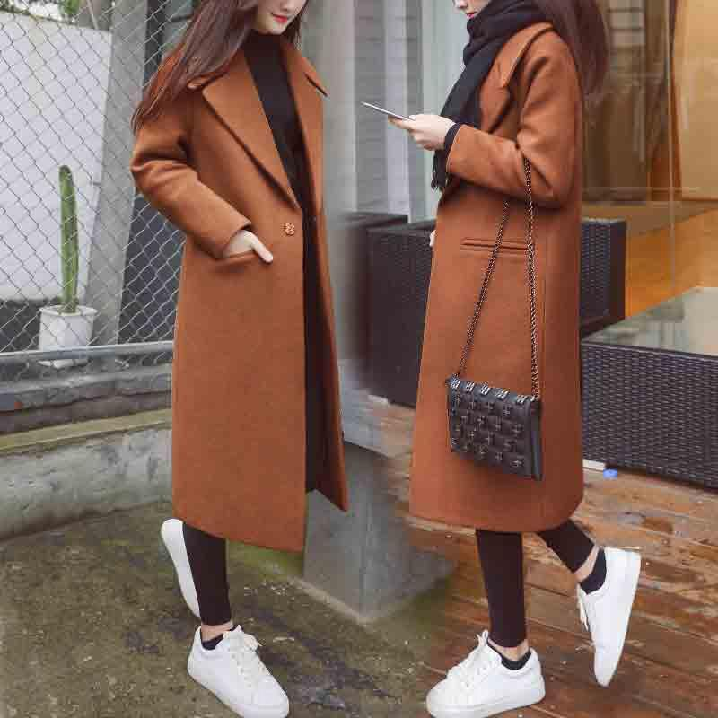2020 nero di en donna lana cappotto di lana invernale di lunghezza media popolare nuovo stile allentato coreano ispessito bozzolo cappotto di lana