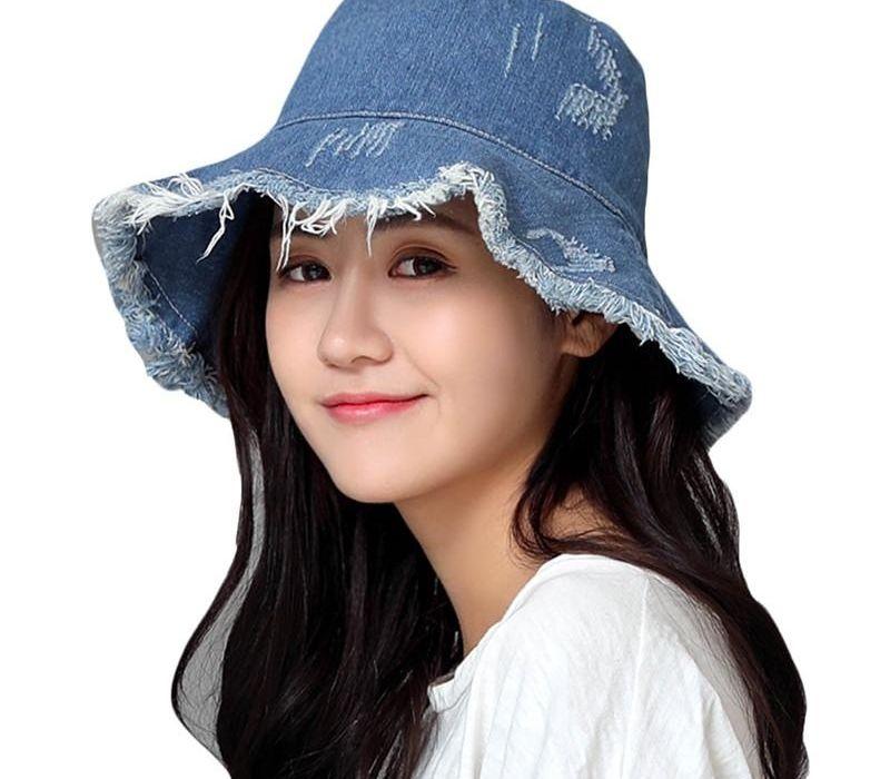 Verano Washed Denim sombrero de Sun de las mujeres de moda de la borla de Floppy casquillo de las señoras de ala ancha playa del algodón Sombreros Del Cubo plegable sombrero Mujer Chapéu
