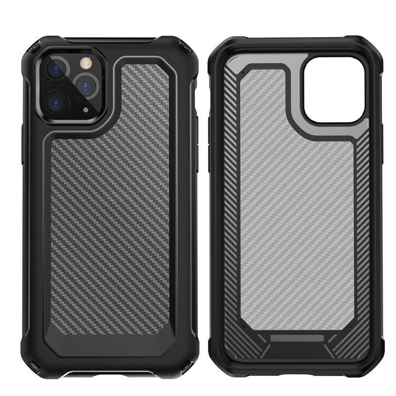 Custodia antiurto nuovo arrivo in fibra di carbonio per iPhone 12 XS 11 Pro Max XR 6 7 8 Inoltre cristallo trasparente mobile sacchetti del telefono DHL libera
