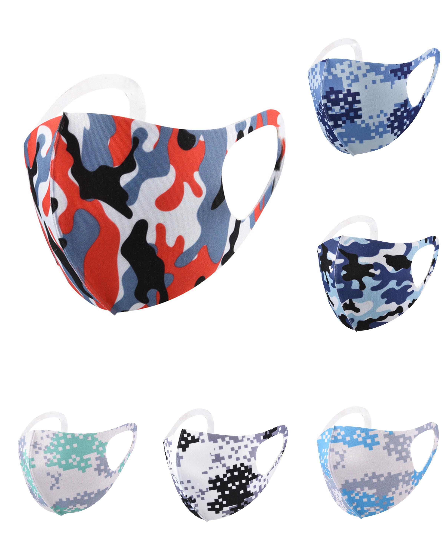 cara reutilizable cara diseñador máscara adulta máscara de camuflaje protector solar impresa seda de hielo a prueba de polvo y máscaras de lujo transpirables