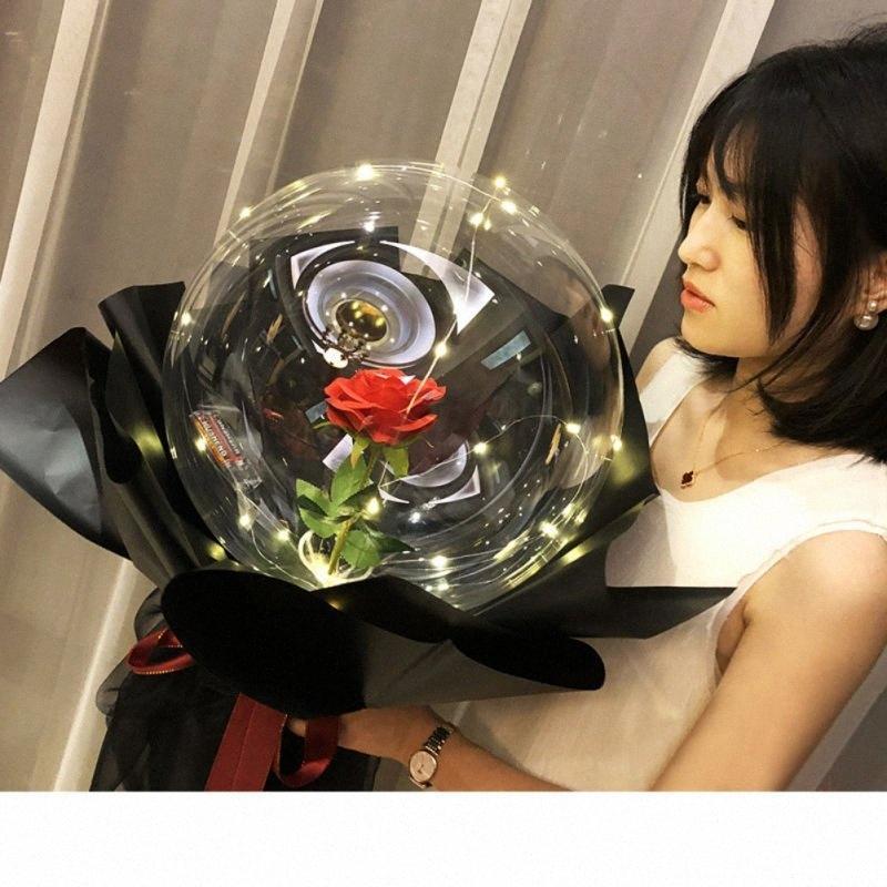 Rose Balão Popular Transparente Bola Rose Bola Bouquet Flor de balão com luz de casamento decoração presente DB5V #