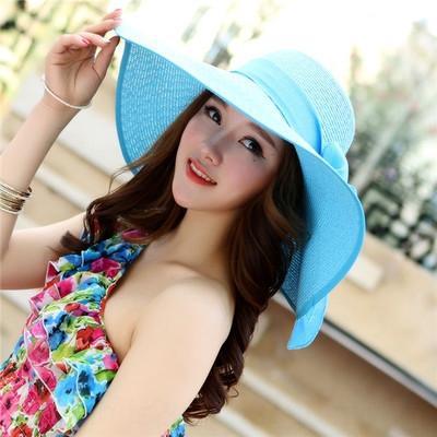 h8ssz Wrapped Bogen koreanischen Stil große Traufe Schmetterling Stroh Stroh modischen faltbaren Sommer Sonnenhut Frauen Strand Hut Sonnenschutz