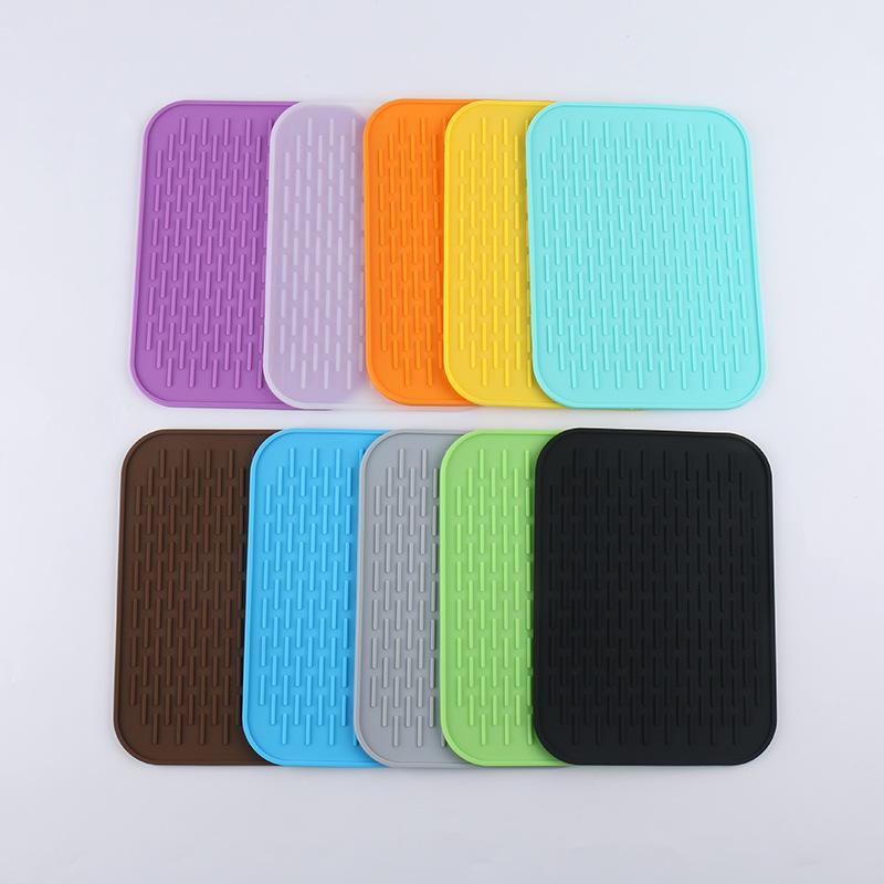 Teléfono móvil del silicón del cojín del aislamiento de calor Mantel anti Escaldado la estera de tabla del deslumbramiento cuadrados de colores para no Slip 2 5tz D2