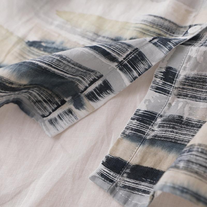 wkU2C gömlek baskılı orta boy keten Kadın gevşek ince yaz organze bölünmüş güneş geçirmez gömlek uzun kollu 4