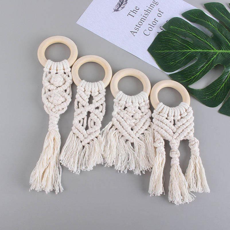New DIY handwork Handmade Natural Wooden Crochet Baby Infant Kids Teether Teething Ring Gift Toy Infant Wood Ring Teethers B2107