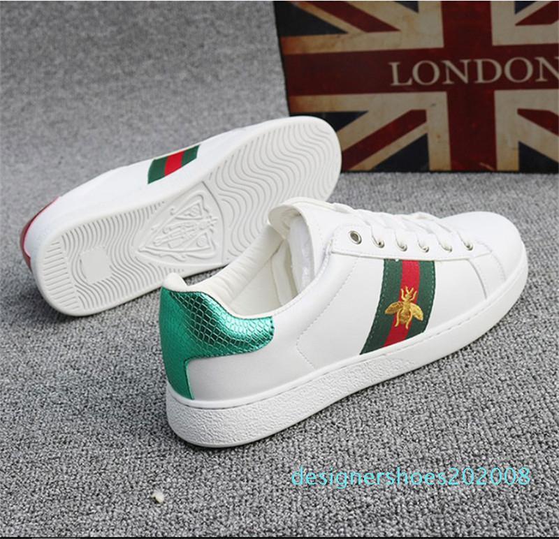 2020 Lüks tasarımcı GG Günlük Ayakkabılar Ace Nakış Arı Kaplan Yılan Düz Sneaker Spor Eğitmenler Gerçek Deri erkekler kadınlar shoes1 d08