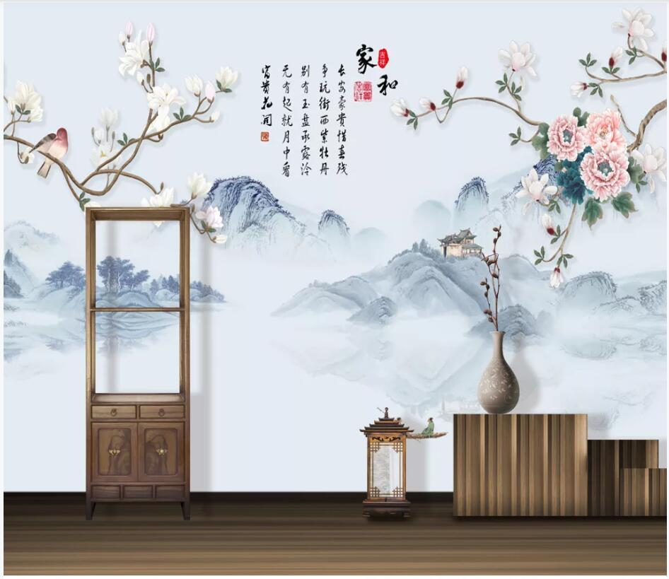 WDBH wallpaper photo 3d papier personnalisé peint encre fleur de pivoine chinois peinture décoration paysage de salon pour les murs 3 d
