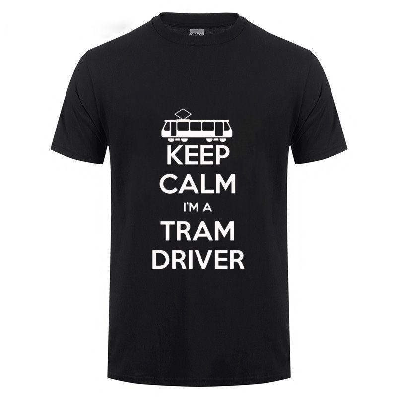 garder le calme que je suis un drôle artistique bus conducteur de tram T-shirt en coton pour hommes manches courtes MANCHE été t-shirt rond tees