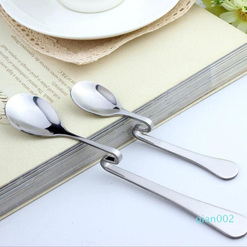 Nuevo estilo Bent Spoon creativo recta herramientas col cuchara de acero inoxidable Postre Café agitación cucharillas de café té del envío rápido