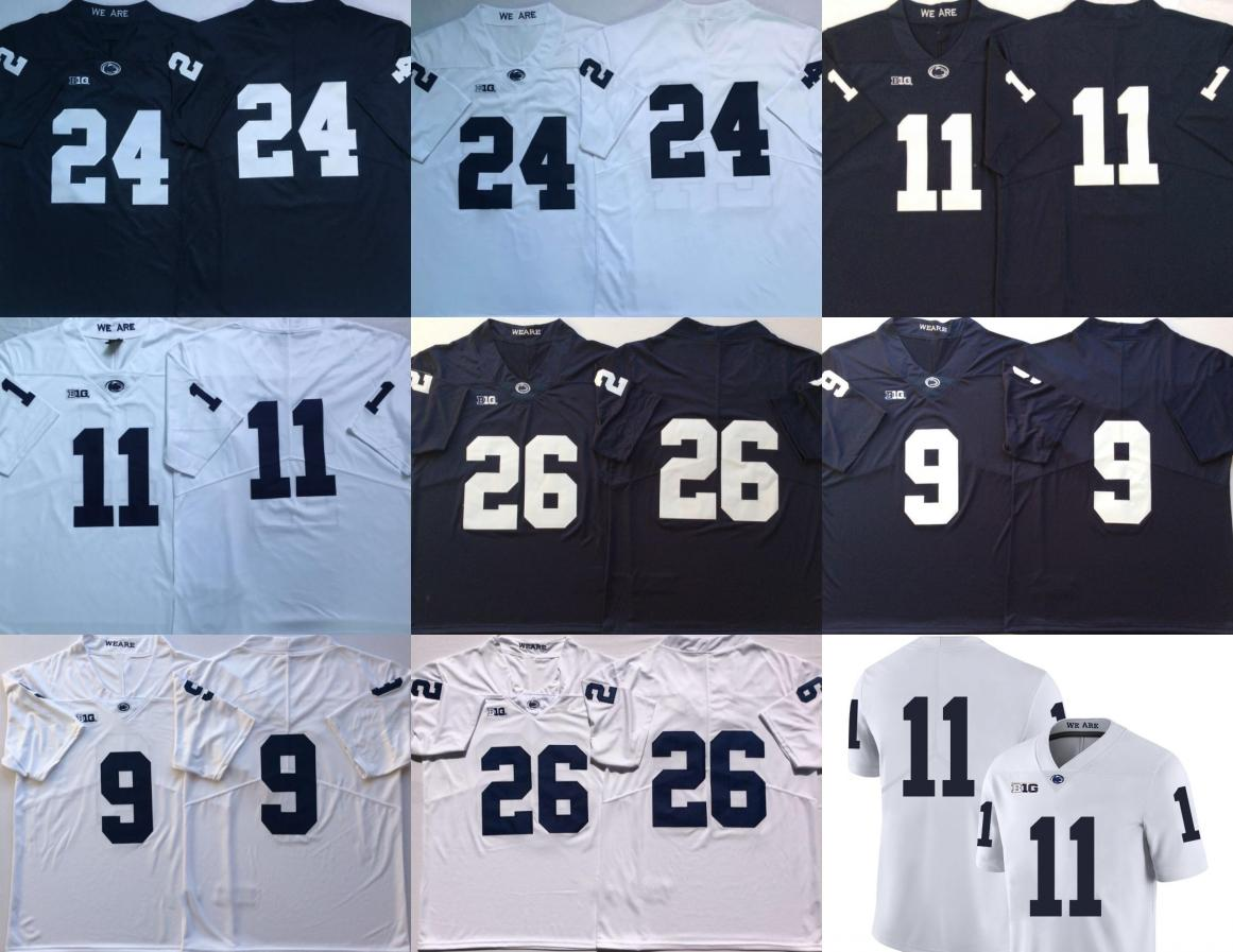 Penn State Nittany Lions 26 Saquon Barkley 11 Михей Парсонс 24 Miles Сандерс 9 след Максорли Navy Blue White прошитой мужские Джерси