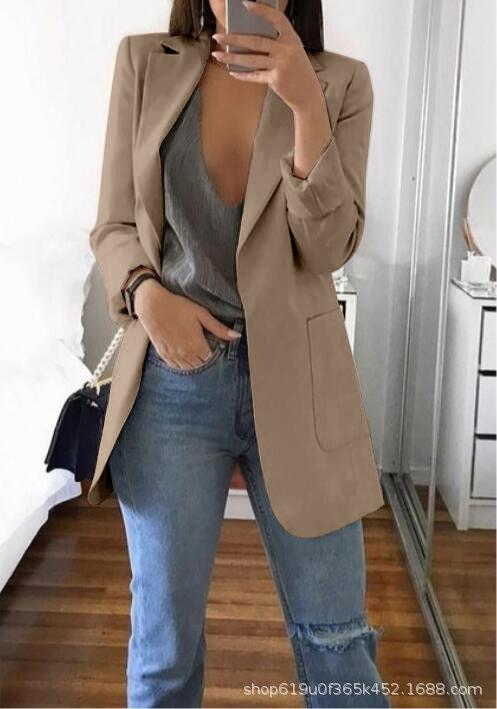 Fashion lapel solid color slim cardigan temperament suit for women Fashion lapel solid color slim cardigan temperament suit for Coat coat wo