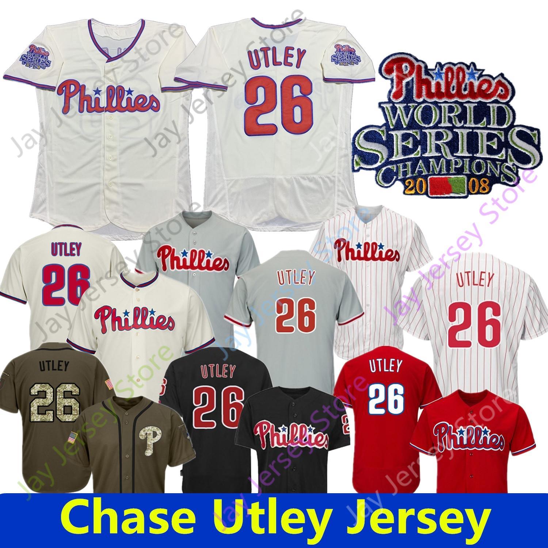 Chase Utley Jersey Philadelphia 2008 Campeones Patch Home Way Base Cool Base Blanco Rojo Botón Botón Botón Abajo Papas