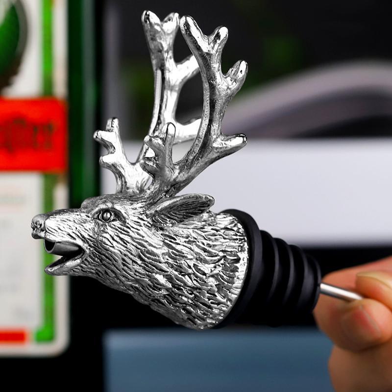 Wholesale Deer Head Wine Pourer Elk Lion Bull Head Wine Stopper Bar Tools Nightclub Bar Accessories