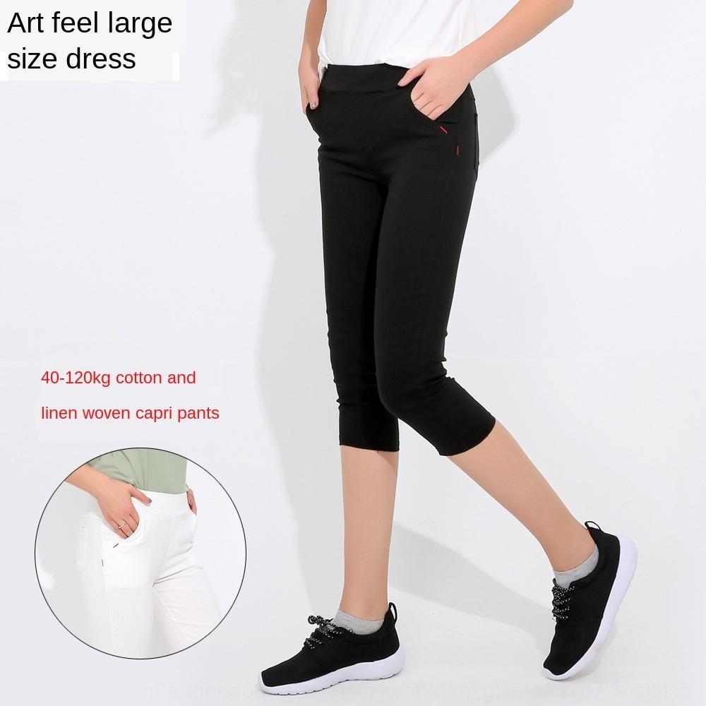 FrZxx Verão leggings de gordura fina leggings cropped de algodão linho calças femininas respirável sob MM tamanho calças stretch Capri grandes mulheres