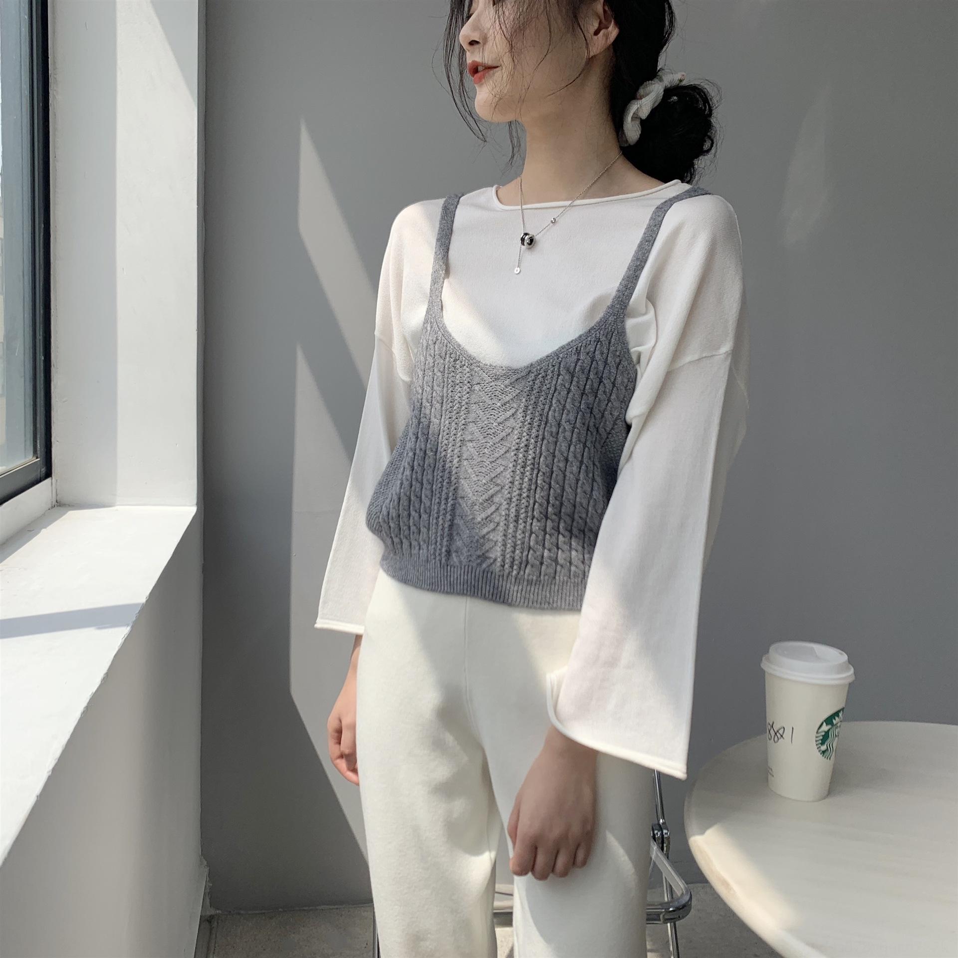 Kadınlar için kısa dış yelek yelek Jia Zhi 8-8012 düz renk basit V yaka büküm sapan örme gömlek Kısa ceket Kaşkorse