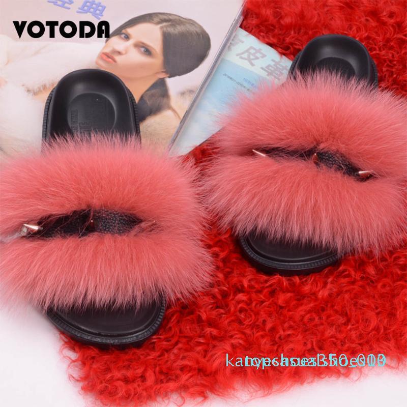 Inverno Donne Fur diapositive Furry pantofole peluche soffice pelliccia sandali femminili flip flop coperta Casual Warm pantofole Rivet Scarpe k10