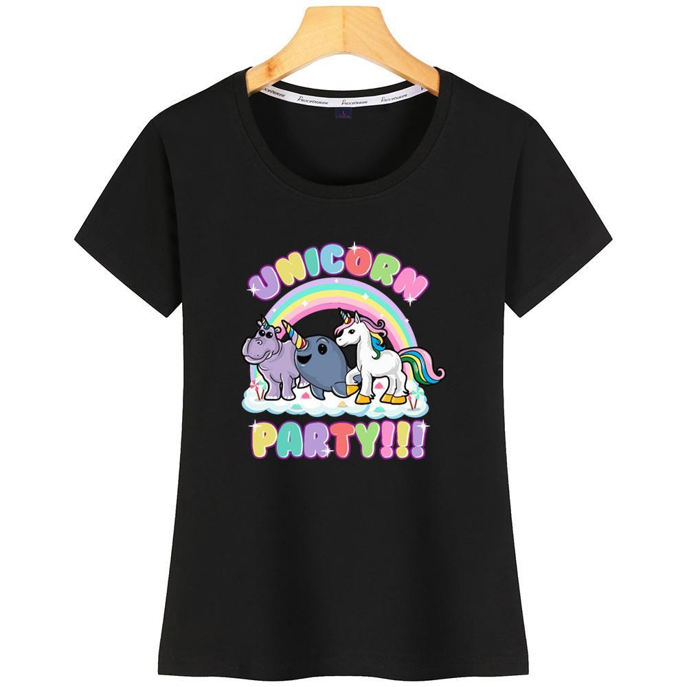 Mulheres Unicorn Party T shirt fraco respirável gola redonda Design T Shirt para as Mulheres