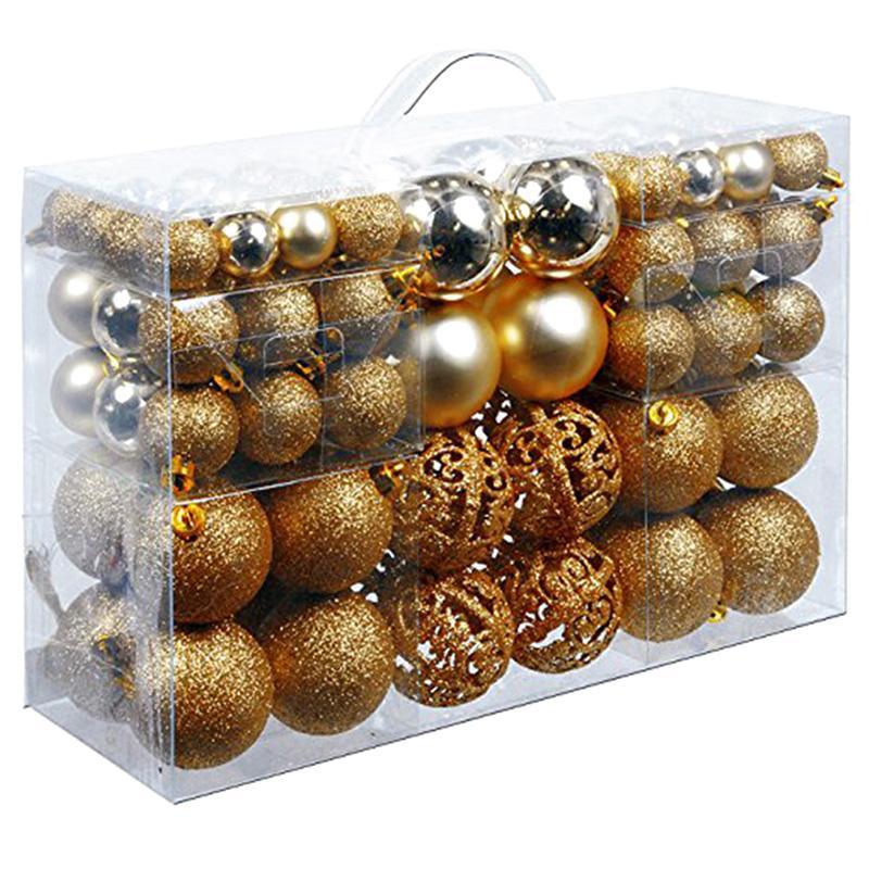 Box Bola de Natal 100pcs / Box Set Árvore de Natal Disponível Lightweight ornamento do feriado decorações do ouro