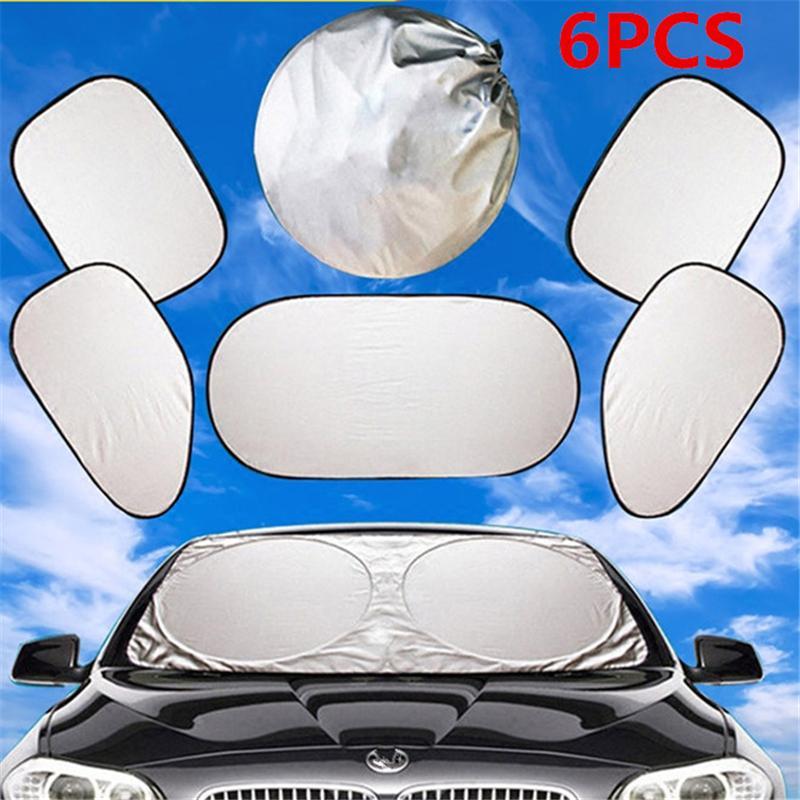 6Pcs/Set Car Cover UV Protection Shield Front Rear Car Window Sunshade Sun Shade Visor Windshield Cover Car Sun Shades