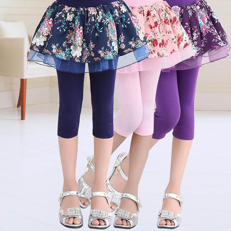 Las polainas del verano de la falda de princesa de las muchachas de flor Estrellas Pintura de media caña Pantalones Leggins Plancha para niños algodón de los niños de las polainas