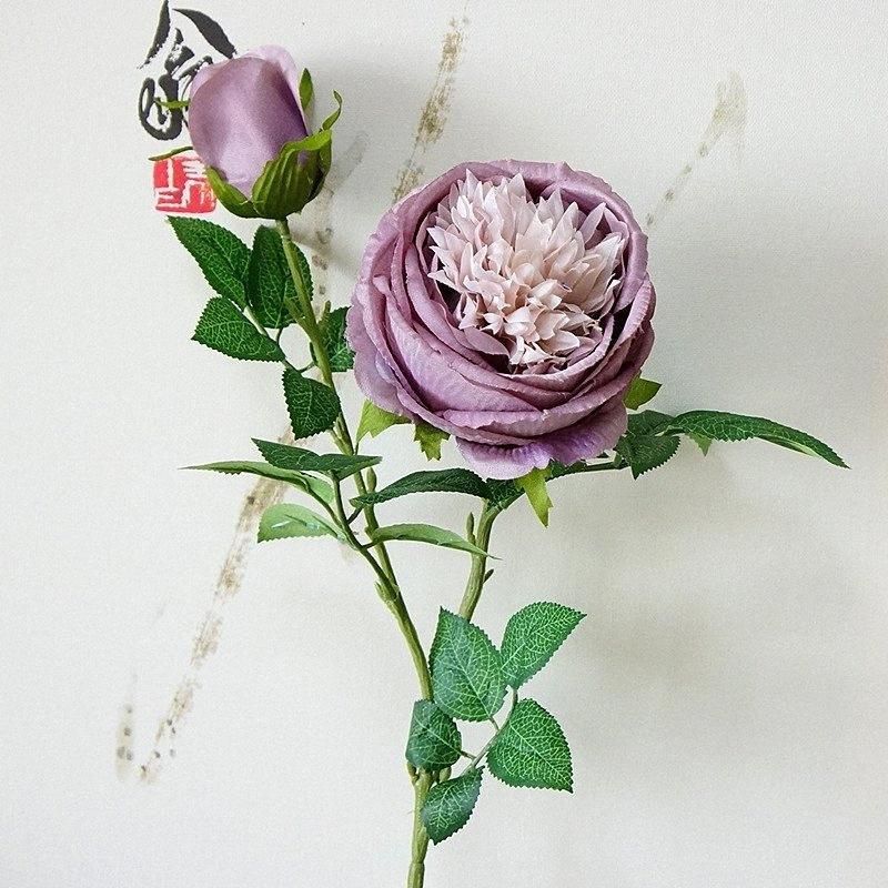 2Heads Künstliche Rosenzweig Simulation Päonienblüten flores für Herbst nach Hause Hotel Hochzeitsdekoration stieg Sehr empfehlen Kyuk #